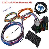 Universal 12 Circuit Wiring Harness Muscle Car Hot Rod Street Rod XL Wires Harness Relay Loom Cable Kit for Led Work Lamp