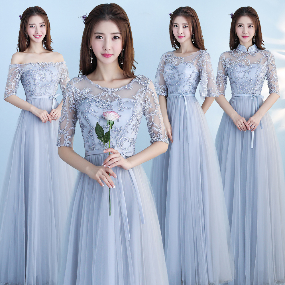 Silver Gray Lace Bridesmaid Dresses Long Women Wedding Party Dress Elegant Gala Gowns High Neck With Sleeves Lace Up Nice Dress