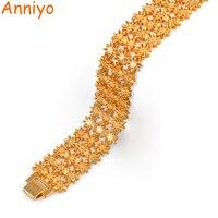 Anniyo 21 см/ширина браслет для женщин и мужчин золотой цвет и медь эфиопские ювелирные изделия Африканский Арабский Браслет Свадебные подарки ...