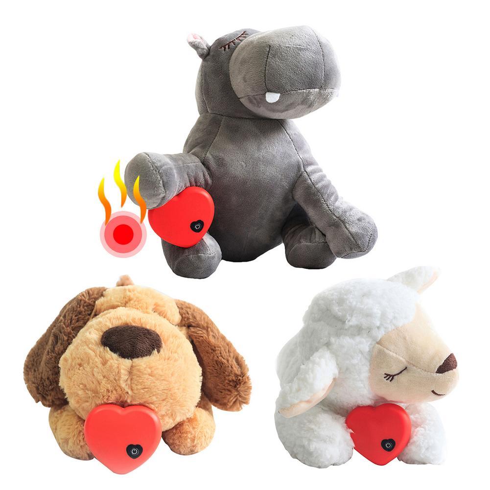 Собака игрушка сердцебиение игрушка питомец нагрев плюшевая игрушка обучение вспомогательная игрушка сердцебиение Успокаивающая плюшева...
