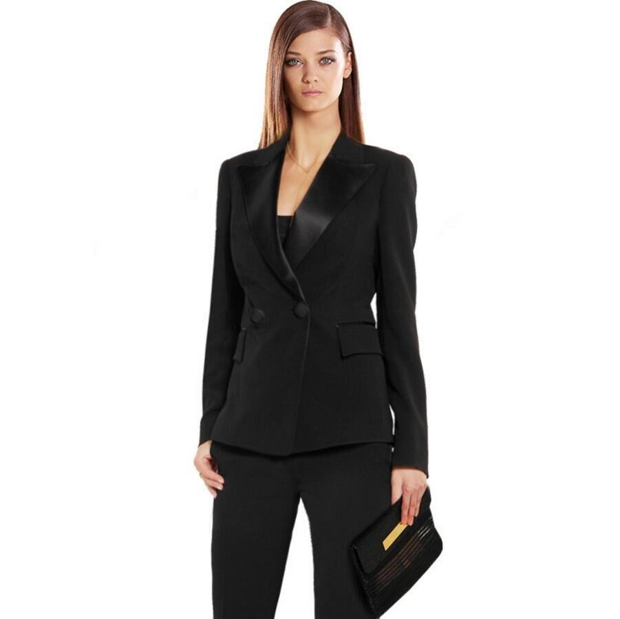 Women Pant Suits Black Autumn Bussiness Formal Elegant Set Blazers Pants Office Uniform Suits Ladies Pants Suits Trouser Suits