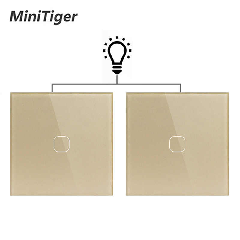 Minitiger EU Standard Wall Ligth Touch Switch 1 Gang 2 Way Control Touch Screen Switch, Crystal Glass Panel, 220-250V