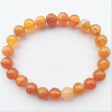 New Products Hot 8mm Fashion Natural Orange Chalcedony Bracelet Quartz Crystal Ladies Jewelry Beads Elastic Lucky Gifts