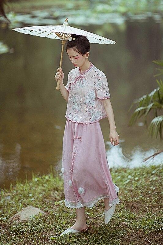 Милые юбки в стиле Лолиты в национальном стиле; юбка с разрезом и высокой талией для лета; удобные и универсальные розовые юбки для женщин; HJS018