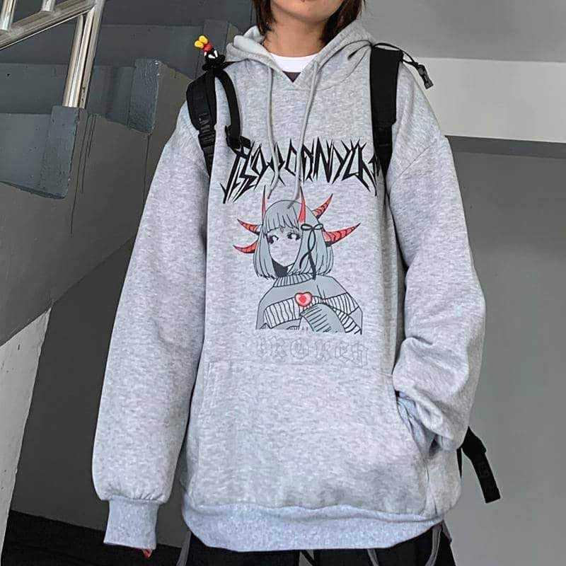 NiceMix Harajuku المتضخم هوديي البلوز المرأة الخريف الكرتون طباعة هوديس طويلة الأكمام البلوز فضفاض لطيف هوديي مضحك