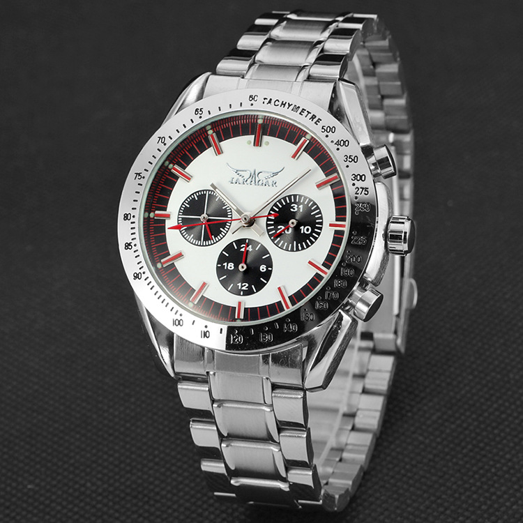 JARAGAR Fashion New Men's Mechanical Watches Casual Sports Steel Strap Watches Nail Scale Dial Fake Three-eye Mechanical Watches