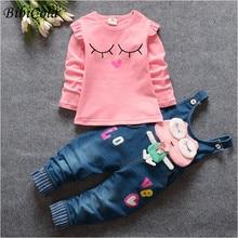 Newborn Baby Clothing Set Spring Autumn Infant Girls Fashion Tracksuit Set Top+denim overall pants  Toddle Kids denim Clothes
