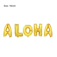 1 set Hawaiian ALOHA Balloons Metallic Hawaii Gold Foil for Summer Party Decoration 16inch
