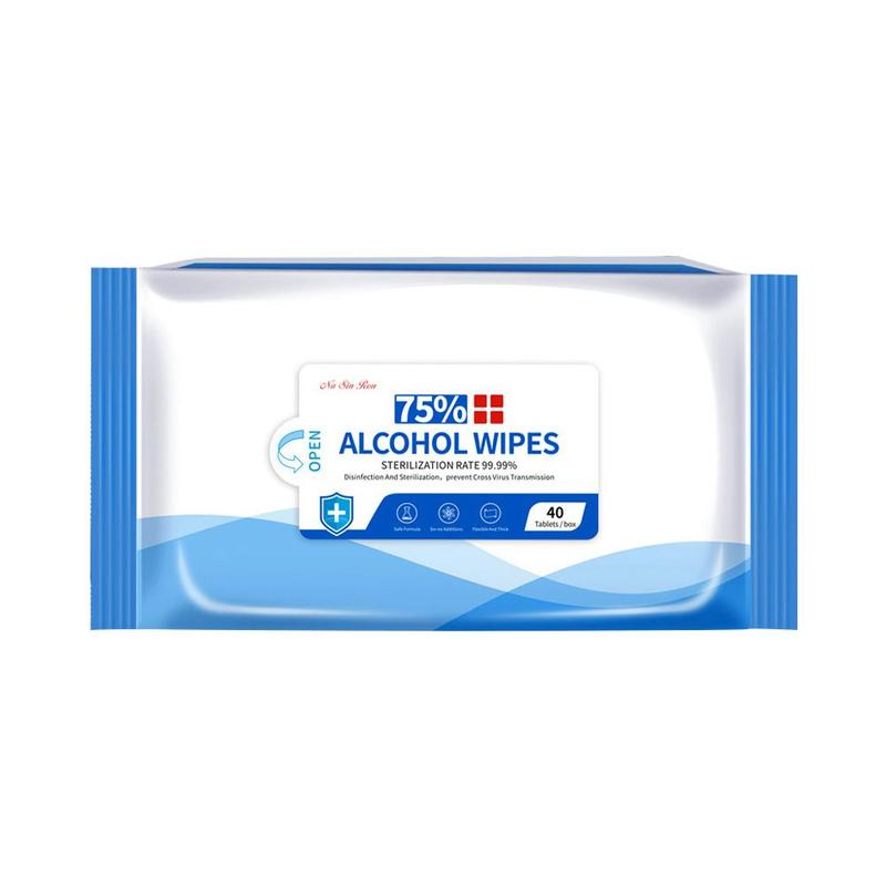 40pcs/pack Of Alcohol Wipes 75% Alcohol Men Suit Wipes Disinfection Sterilizing Handkerchief Family Home Supplies