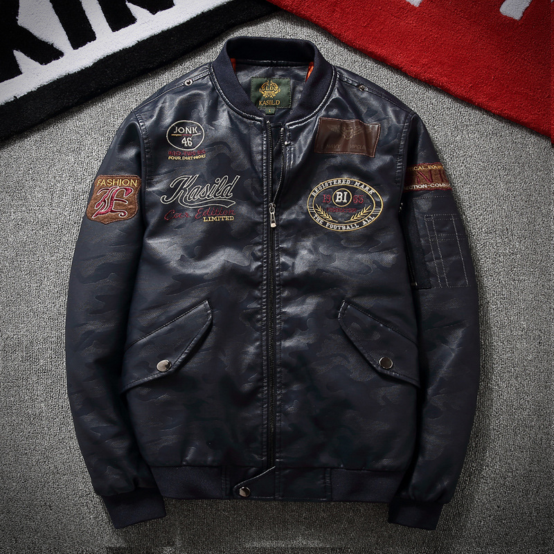 AliExpress Spring And Autumn MEN'S PU Leather Jacket Locomotive Pilots Leather Coat Europe And America