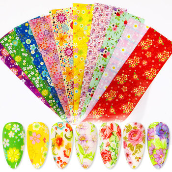 10 Pcs Rose Flowers Nail Foils Tropical Leaves Colorful Nail Decals Transfer Decorations Sets for Manicuring DIY Sticker Slide 13