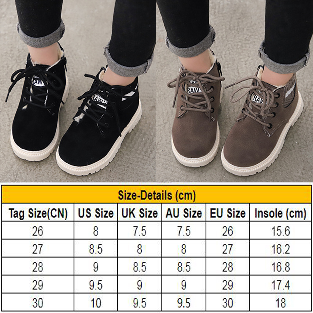 Boys Girls Kids New Casual Lace Up Winter Walking Ankle