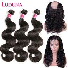 Luduna 100% человеческие волосы 360 синтетический фронтальный с пучком волнистые волосы ткать 3 пряди с закрытием перуанский пучок с фронтальной