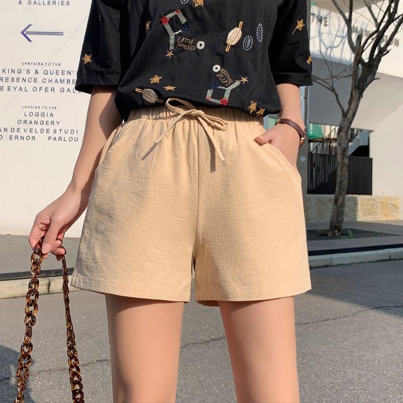 Casual Summer Short Women Slim Female Shorts Fashion Ladies Cotton Shorts For Ladies Drawstring Elastic Khaki Short Pants