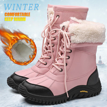 New Women Winter Snow Boots Mid-Calf Warm Snow Boots Thick Fur Comfortable Waterproof Booties Chaussures Femme Plus Size 42