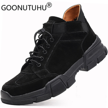 2019 autumn men's ankle boots casual genuine leather suede shoes male work boot male big size 37-48 shoe man army boots for men цены онлайн