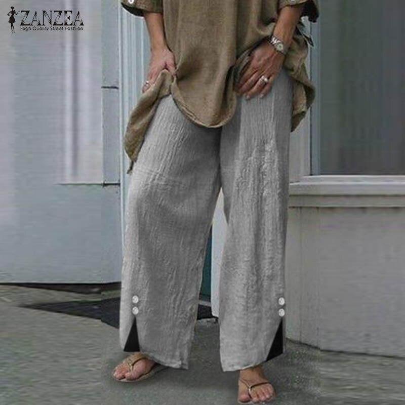 ZANZEA Pants Women Wide Leg Pants 2020 Autumn Vintage Botton Pantalon Femme Long Trousers Plus Size Casual Work Streetwear S-5XL
