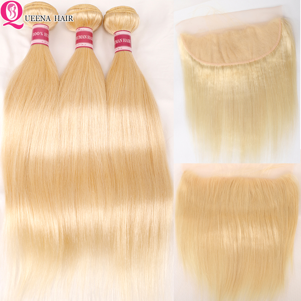 Queena 613 Bundles With Frontal Brazilian Straight  Human Hair Blonde Bundles With Closure Black Lace Frontal With Bundles Remy