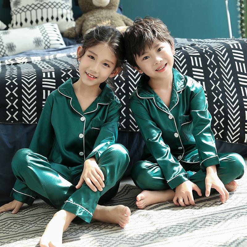 Christmas Pajamas Baby Autumn Winter Long Sleeve Silk Sleepwear Set Solid Color Comfort Girl Boy Nightwear Clothing 6
