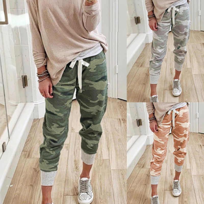Camouflage Joggers Broek Voor Vrouwen Herfst Hoge Taille Camo Cargo Joggingbroek Vrouwelijke 2020 Trekkoord Losse Ongedwongen Dame Lange Broek