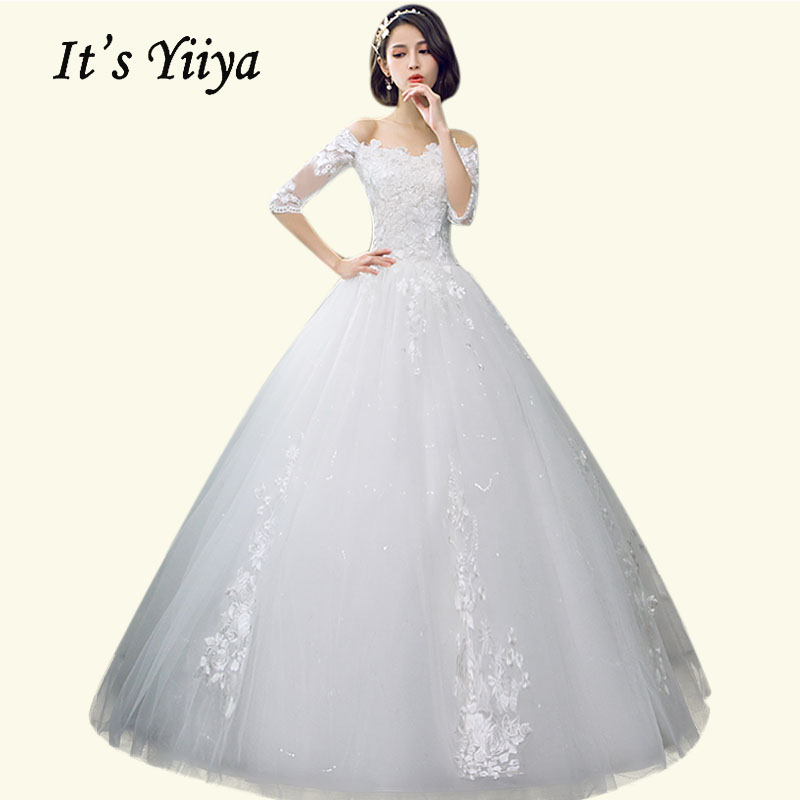 Boat Neck Wedding Dresses It's Yiiya BR681 Elegant Plus Size Long Vestido De Novia Embroidery Lace Boho Wedding Dresses