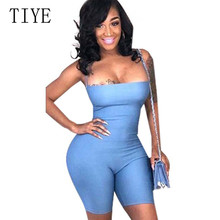 TIYE Summer Women Sexy Plain Solid Bandage Jumpsuits Elegant Backless Sleeveless Bodycon Party Club Short Rompers Playsuits