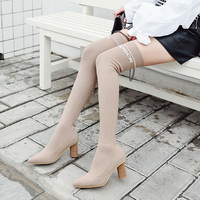 2019 Women Over The Knee 7cm High Heels Boots Female Long Sock Stretch Fabric Thigh Boots Ladies Winter Block Heels Black Shoes