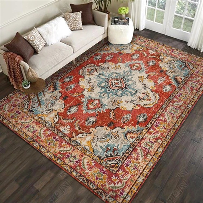 Persian Ethnic Vintage Style Carpets For Living Room 3D Printing Bedroom Rugs Decorative Carpet Area Rug Anti Slip Washable