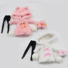 Наряды для куклы Blyth, зимняя меховая розовая и белая одежда, костюм для 1/6, azone BJD pullip licca