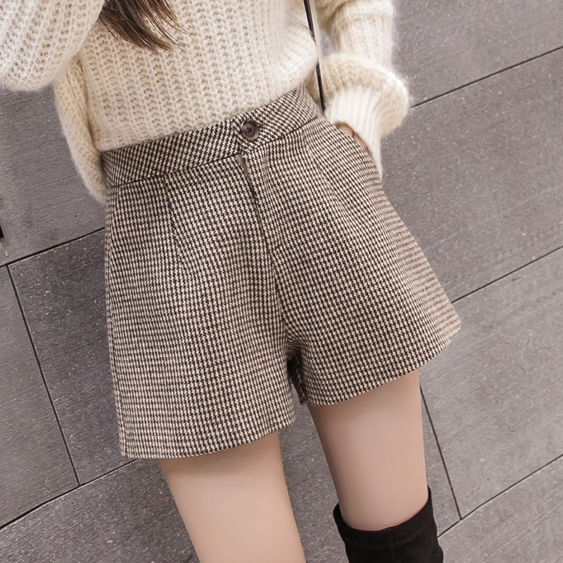 2019 Autumn Winter Wool Short Women Korean Vintage Plaid Woolen Shorts Female Casual All-match Shorts