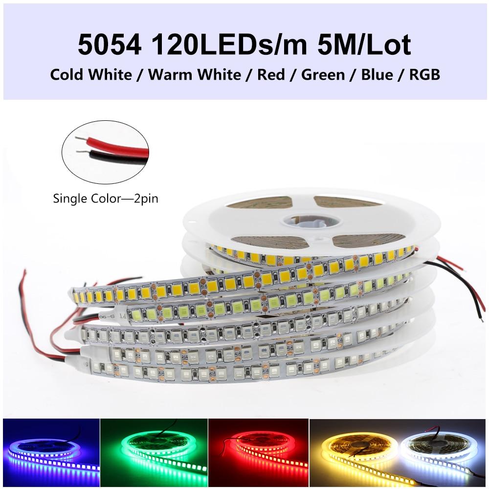 DC12V HA CONDOTTO LA Luce di Striscia 5054 Impermeabile Flessibile LED Del Nastro 60LEDs/m 120LEDs/m più luminoso di 5050 3528 12V RGB Diodo Nastro 5 m/lotto