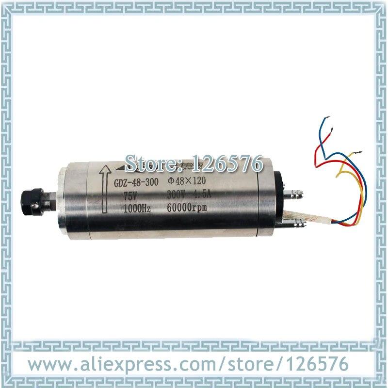 High Speed 60000rmp Cnc Milling Spindle Motor 300w 75V ER8 Water Cooled Spindle Motor