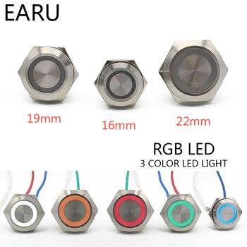 Luz LED RGB de 3 Triple Color, 16/19/22mm, micro interruptor momentáneo corto, interruptor de botón de Metal resistente al agua y con reinicio automático