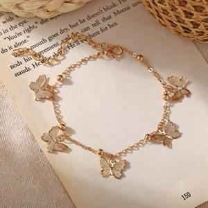 Anklet Bracelet Jewelry Rope-Chain Pendant Charm Blue-Turkish Adjustable Butterfly Children