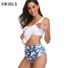 2019 Woman Plus Size Swimwear High Waist S-3XL Bikini Big Women Bathing Suits Floral Vintage Female Sexy Bather Swimsuits(China)