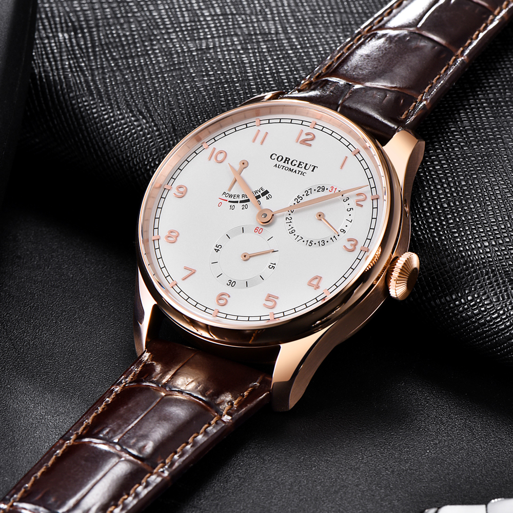 42mm Corgeut Watch men seagull 1780 automatic mechanical wristwatch Power Reserve date waterproof Rose gold PVD steel mens watch