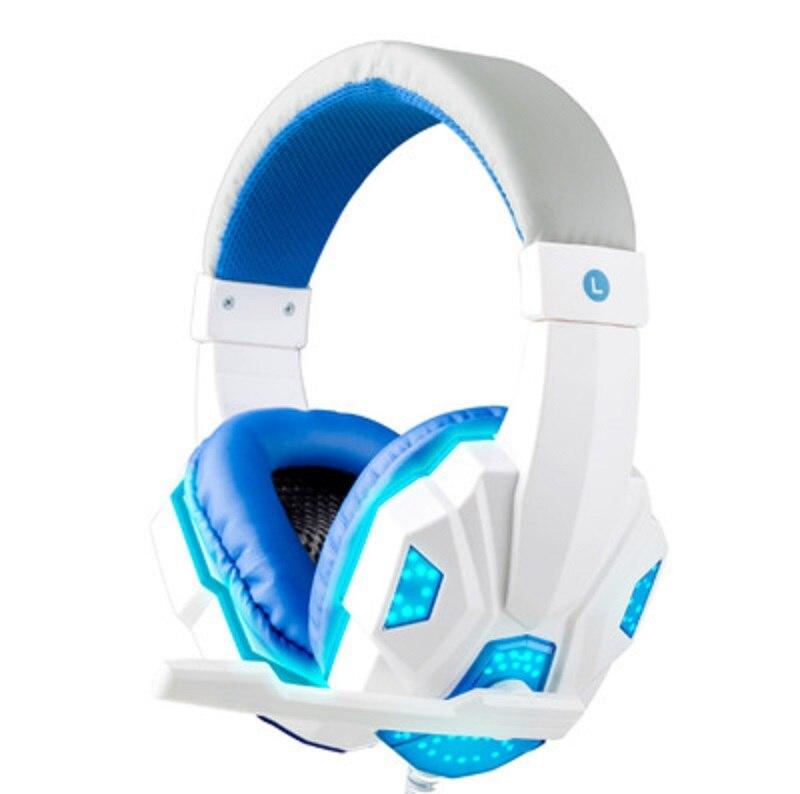Игровая гарнитура наушники компьютер мода над ухом прочный светодиодный Gaming-kopfhører - Цвет: White Blue