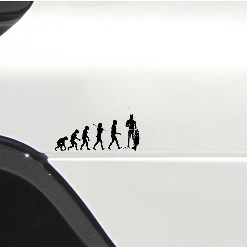 15*7.6CM Interessante Evolutie Freediving Gratis Duiken Speargun Masker Silhouet Graphics Auto Sticker Decor Vinyl voor Toyota Honda
