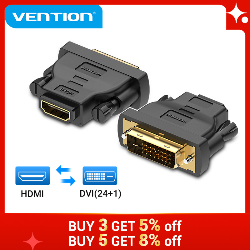 Адаптер Vention DVI-HDMI двунаправленный DVI D 24 + 1 Папа-HDMI Женский преобразователь кабельного разъема для проектора HDMI-DVI