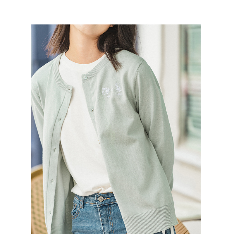 Image 4 - INMAN Spring Autumn Winter Embroidery O neck Solid Literary All Matched Women CardiganCardigans   -