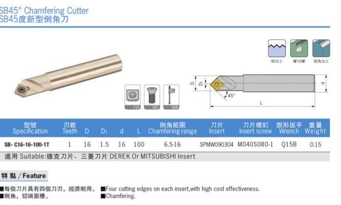 1pcs NEW 45° SB C16-16-100 Centering Chamfering Cutter Holder For SPMW090304