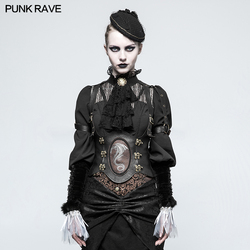 Punk Rave Steampunk Western Dragon Girdle Sexy Vest PU Leather Stage Performance Cosplay Accessories