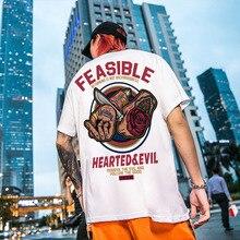 סיני סגנון כרטיס רחוב אישיות Ghost היפ הופ אירופה ובאמריקה קצר שרוול חולצה אדם ראש סכין Saccharumחולצות טריקו