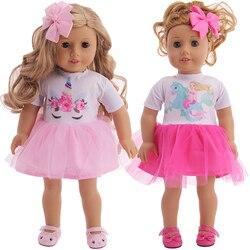 Милое Платье с единорогом, головной убор для американской куклы 18 дюймов, 43 см, для новорожденных, для нашего поколения и 38 см Nenuco