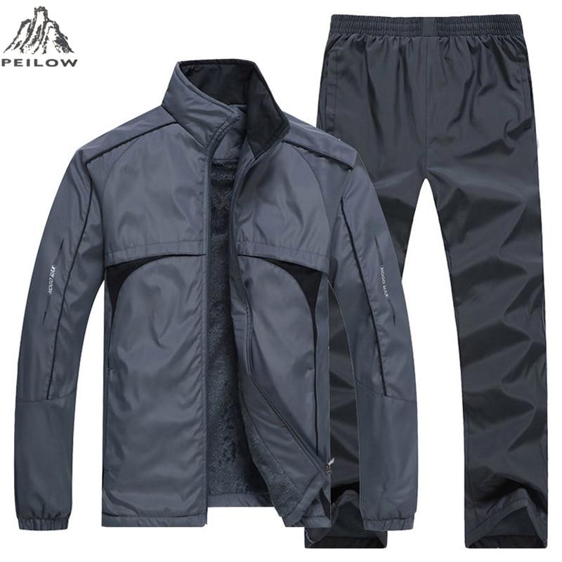 New Man Set Winter Thick Warm Men's Sportswear 2 Piece Sets Sports Suit Jacket+Pant Joggers Sweatsuit Male Tracksuit Size L~5XL