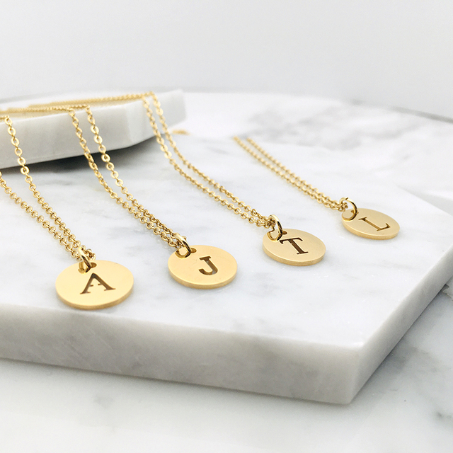 Stainless Steel 12mm Disc Initial Letter Alphabet Chain Necklace Creatively 26 Initial Name Couple Necklaces Lover Gift New 3