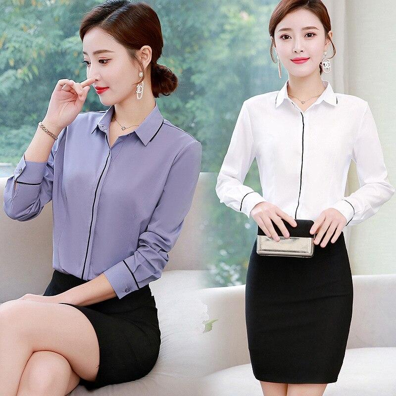 Korean Fashion Chiffon Women Blouses Long Sleeve Office Lady Shirt and Blouse Plus Size XXXL/5XL Womens Tops and Blouses