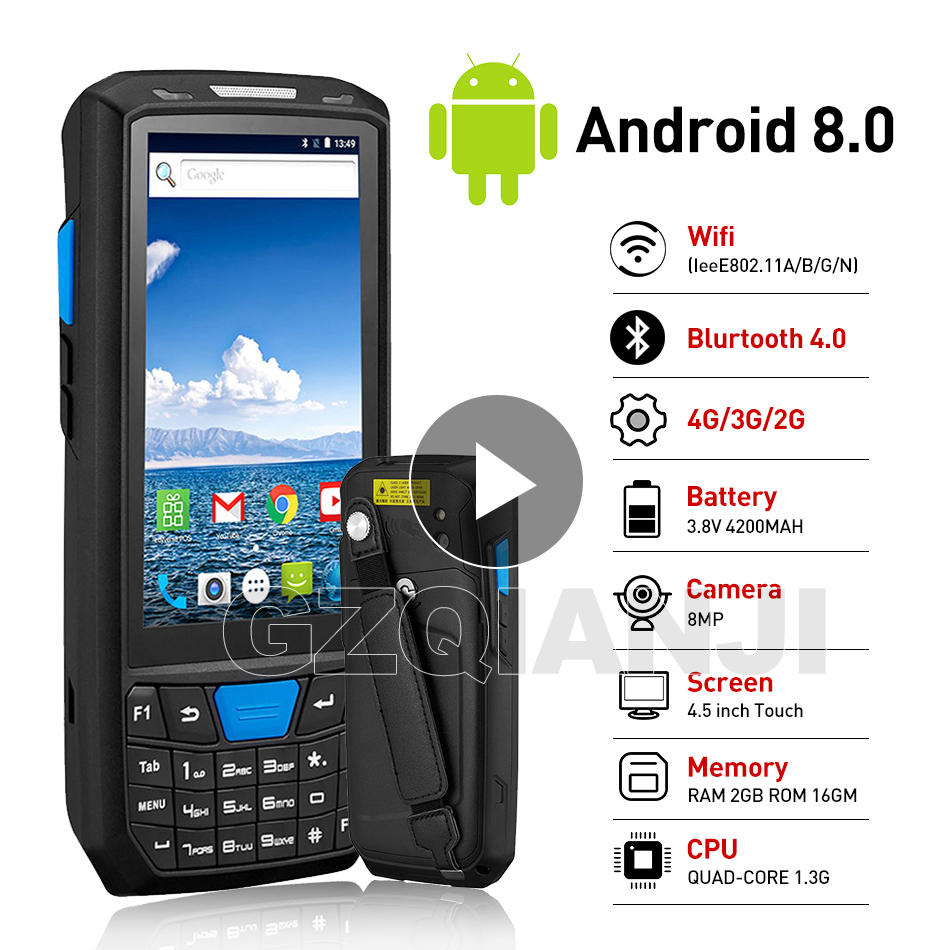 New Android 8 PDA Rugged Handheld Terminal Data Collector Terminal Wireless 1D 2D QR Laser Barcode Scanner Reader Terminal 4G-in Scanners from Computer & Office