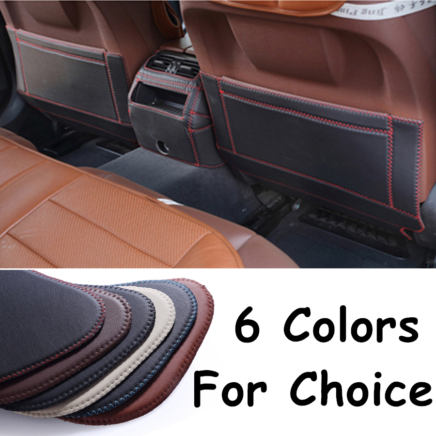SJ Fiber leather Car Rear Seat Anti-Kick Pad Back Seats Cover <font><b>Armrest</b></font> Anti-dirty Protection Mat For <font><b>PEUGEOT</b></font> <font><b>408</b></font> 2010 11 12-2019 image