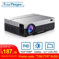 Touyinger T26L Native 1080p LED full HD Projektor Video beamer 5500 Lumen FHD Home cinema HDMI (Android 9,0 wifi AC3 optional)